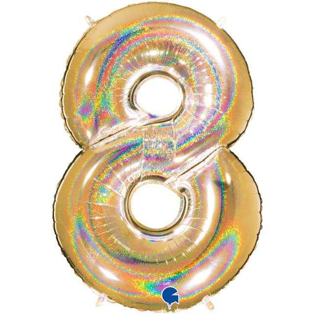 """Balon foliowy cyfra 8, 40"""", GRABO, holograficzny złoty"""