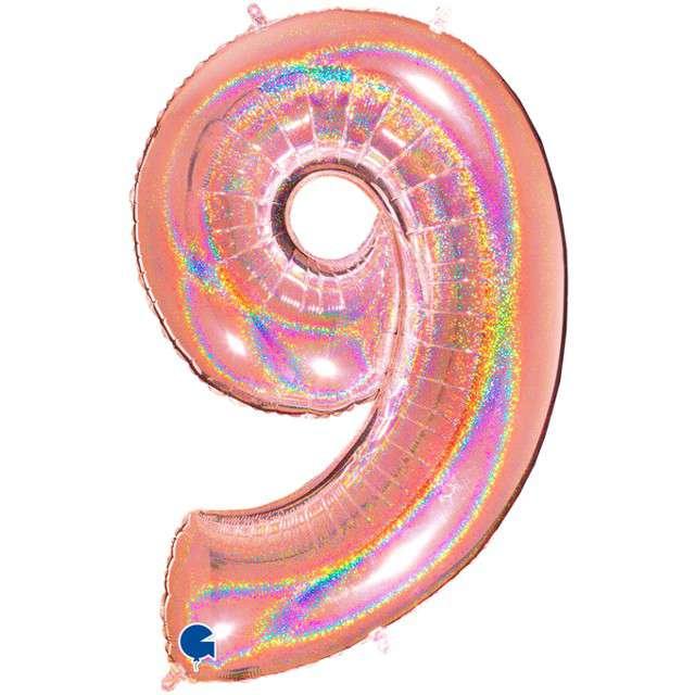 """Balon foliowy cyfra 9, 40"""", GRABO, holograficzny różowo-złoty"""