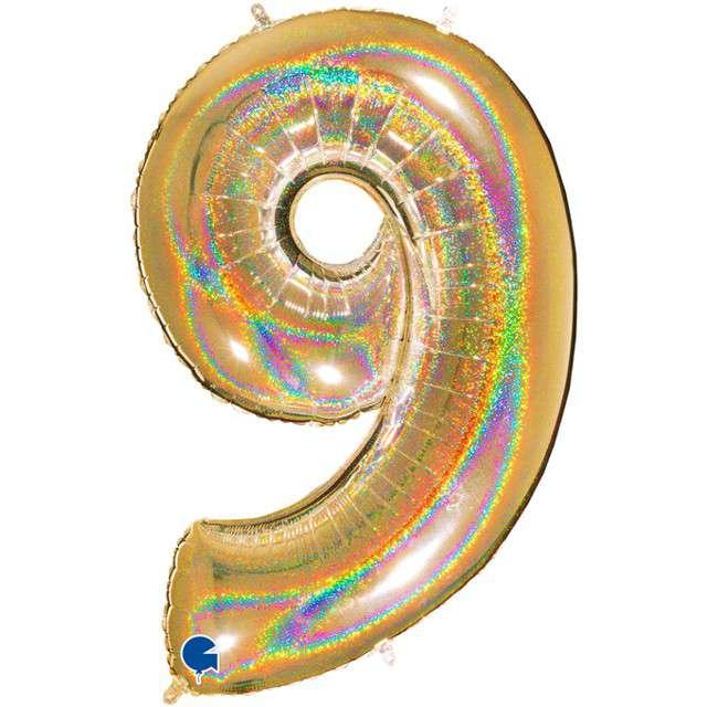 """Balon foliowy cyfra 9, 40"""", GRABO, holograficzny złoty"""