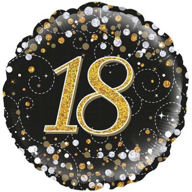 """Balon foliowy """"18 Urodziny - czarny """", OAKTREE, złoty, 18"""" CIR"""