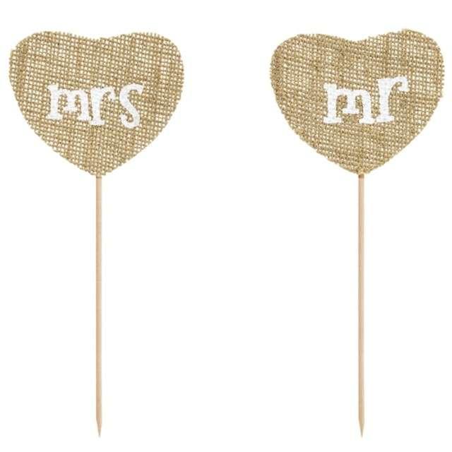"""Dekoracje na tort """"Mr Mrs"""", brązowy, PartyDeco, 18,5 cm, 2 szt"""