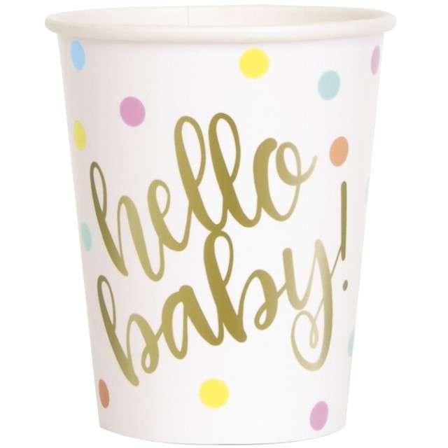 """Kubeczki papierowe """"Hello Baby"""", UNIQUE, 266 ml, 8 szt"""