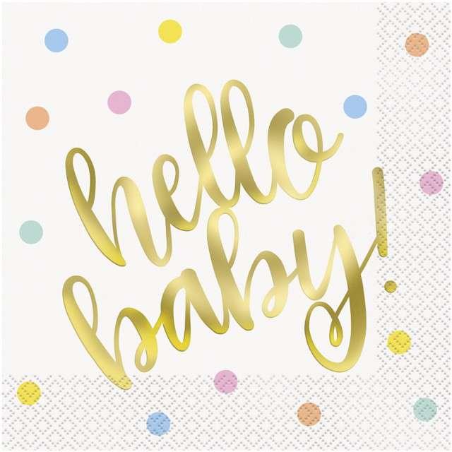 """Serwetki """"Hello Baby"""", UNIQUE, 33 cm, 16 szt"""