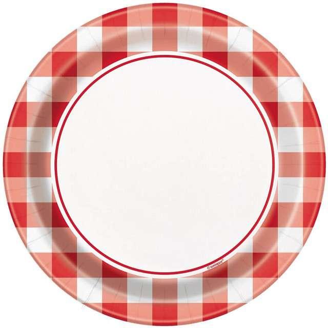 """Talerzyki papierowe """"Czerwona Kratka"""", UNIQUE, 17 cm, 8 szt"""