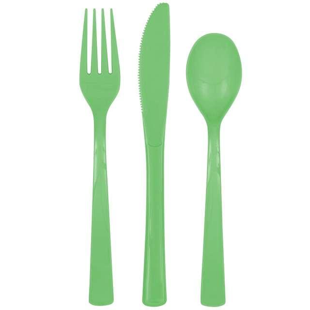 """Sztućce plastikowe """"Classic"""", zielony, 18 szt"""