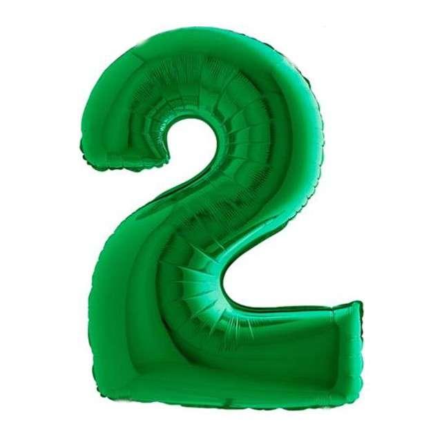 """Balon foliowy cyfra 2, 40"""", GRABO, zielony"""