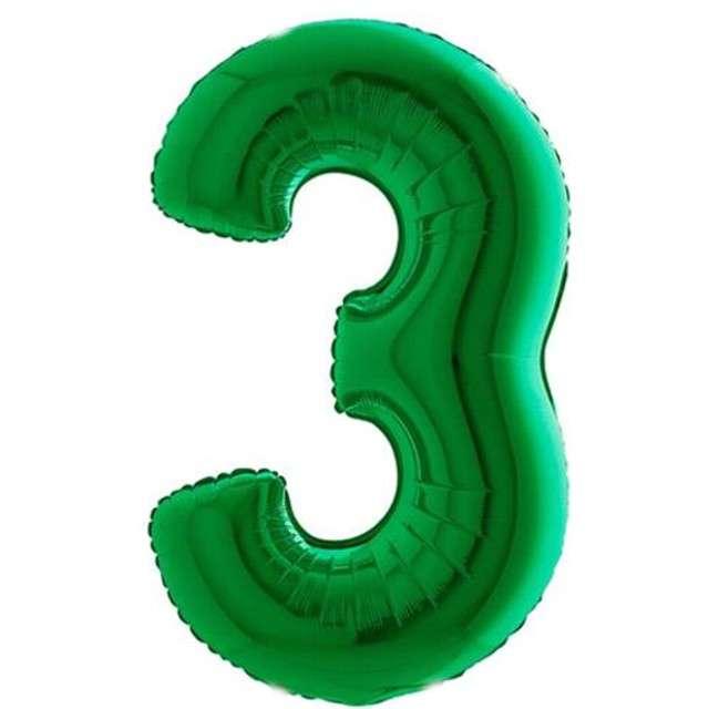 """Balon foliowy cyfra 3, 40"""", GRABO, zielony"""