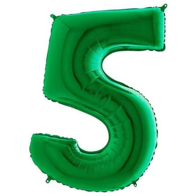 """Balon foliowy cyfra 5, 40"""", GRABO, zielony"""