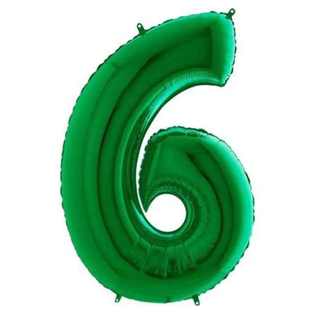 """Balon foliowy cyfra 6, 40"""", GRABO, zielony"""