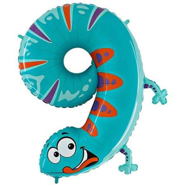 "Balon foliowy cyfra 9, 40"", GRABO, animals"