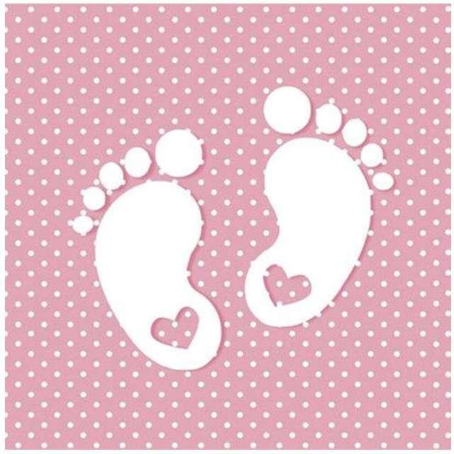 """Serwetki """"Stópki"""", różowe, Maki, 33 cm, 20 szt"""