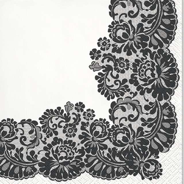 """Serwetki """"Koronkowa Ramka - Czarny"""", PAW, 33 cm, 20 szt"""