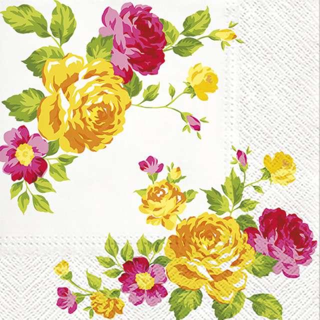 """Serwetki """"Żółte Róże"""", PAW, 33 cm, 20 szt"""
