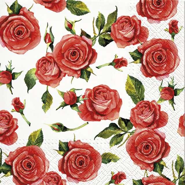 """Serwetki """"Czerwone Róże"""", PAW, 33 cm, 20 szt"""