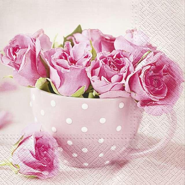 """Serwetki """"Róże w Kubku"""", PAW, 33 cm, 20 szt"""