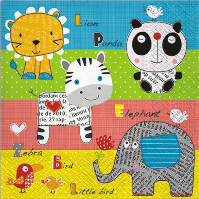 """Serwetki papierowe """"Zwierzątka - Childrens World"""", PAW, 33 cm, 20 szt"""