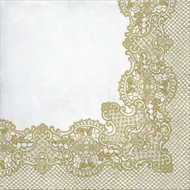 """Serwetki """"Koronkowa Ramka - Złoty """", PAW, 33 cm, 20 szt"""