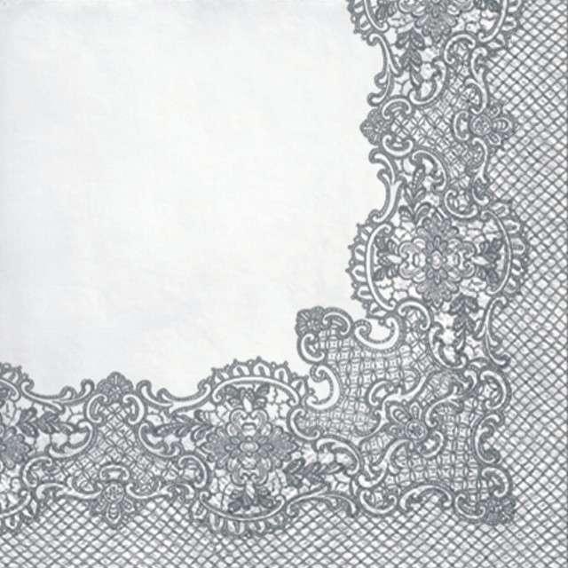 "Serwetki ""Koronkowa Ramka - Srebrny"", PAW, 33 cm, 20 szt"