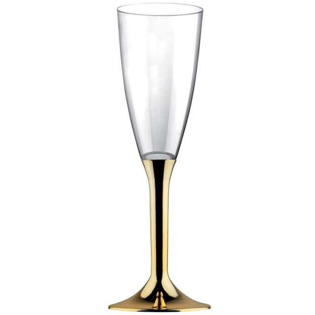 """Kieliszki jednorazowe """"Szampan Classic"""", złoty chrom, GoldPlast, 120 ml, 6 szt"""
