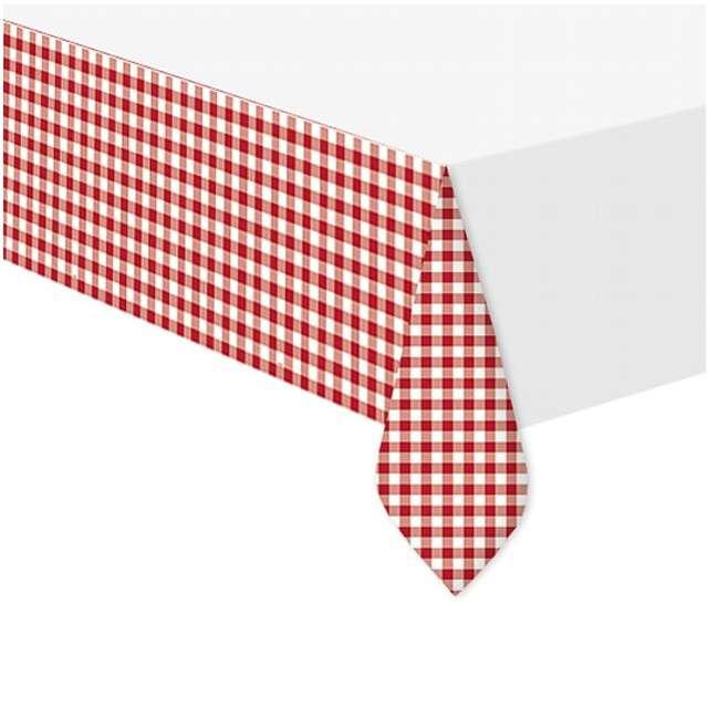 """Obrus foliowy """"Czerwona Kratka"""", UNIQUE, 213x137 cm"""