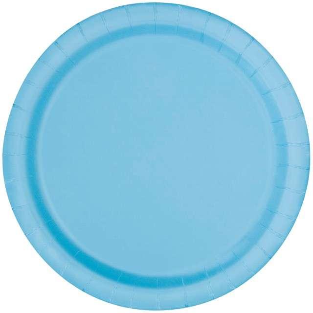"""Talerzyki papierowe """"Classic"""", błękitny, UNIQUE, 18 cm, 8 szt"""