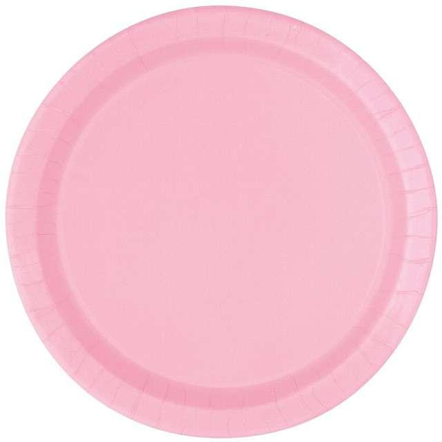 """Talerzyki papierowe """"Classic"""", różowy jasny, UNIQUE, 18 cm, 8 szt"""