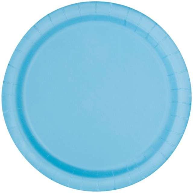 """Talerzyki papierowe """"Classic"""", błękitne, UNIQUE, 23 cm, 8 szt"""