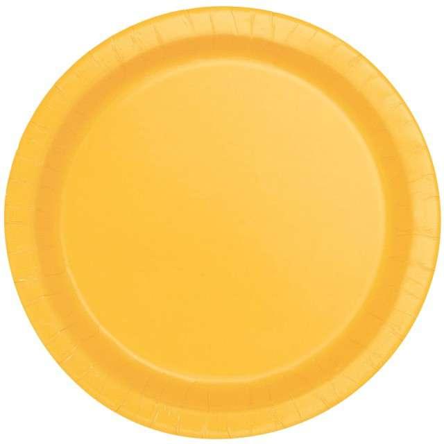 """Talerzyki papierowe """"Classic"""", żółty, UNIQUE, 23 cm, 8 szt"""