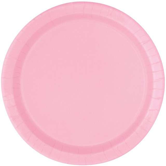 """Talerzyki papierowe """"Classic"""", różowy jasny, UNIQUE, 23 cm, 8 szt"""