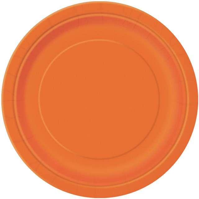"""Talerzyki papierowe """"Classic"""", pomarańczowy, UNIQUE, 23 cm, 8 szt"""