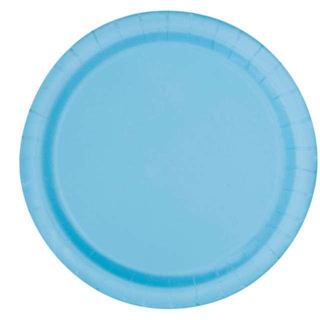 """Talerzyki papierowe """"Classic"""", błękitne, UNIQUE, 23 cm, 16 szt"""