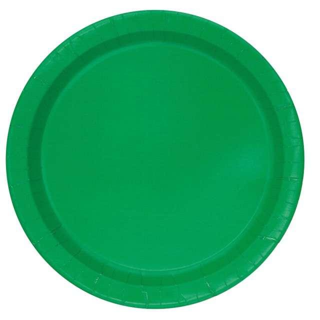 """Talerzyki papierowe """"Classic"""", zielony, UNIQUE, 23 cm, 16 szt"""