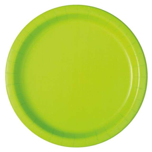 """Talerzyki papierowe """"Classic"""", zielony neon, UNIQUE, 23 cm, 16 szt"""