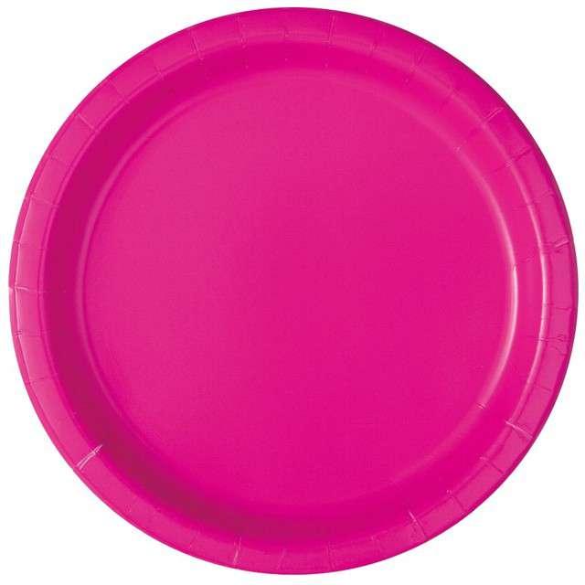Talerzyki papierowe Classic różowe neon UNIQUE 23 cm 16 szt
