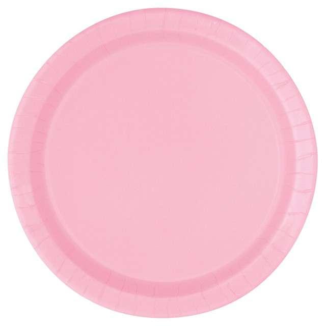 Talerzyki papierowe Classic różowe jasne UNIQUE 23 cm 16 szt