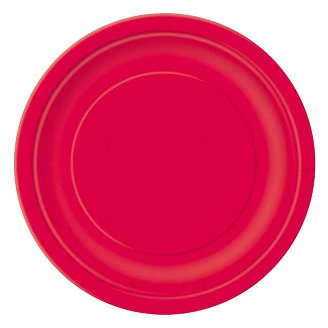 """Talerzyki papierowe """"Classic"""", czerwone, UNIQUE, 23 cm, 16 szt"""
