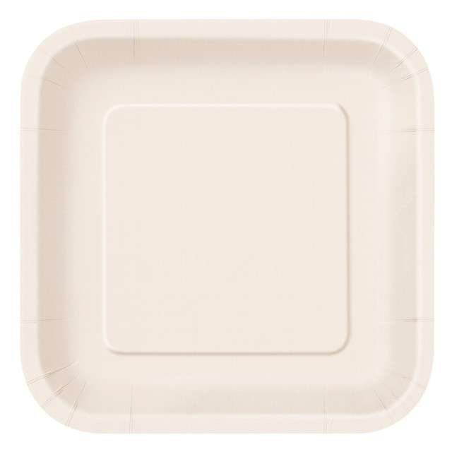 """Talerzyki papierowe """"Classic - Kwadratowe"""", ecru, UNIQUE, 23 cm, 14 szt"""