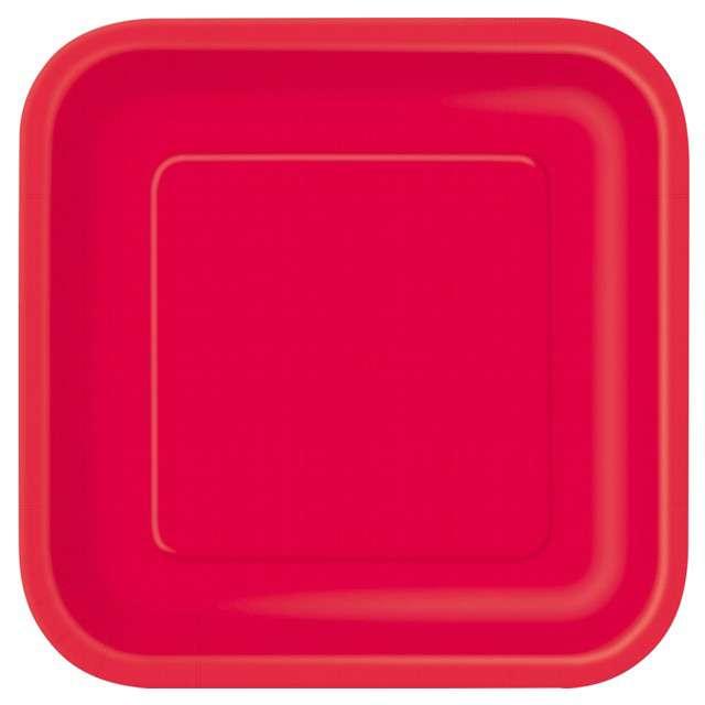 """Talerzyki papierowe """"Classic - Kwadratowe"""", czerwone, UNIQUE, 23 cm, 14 szt"""