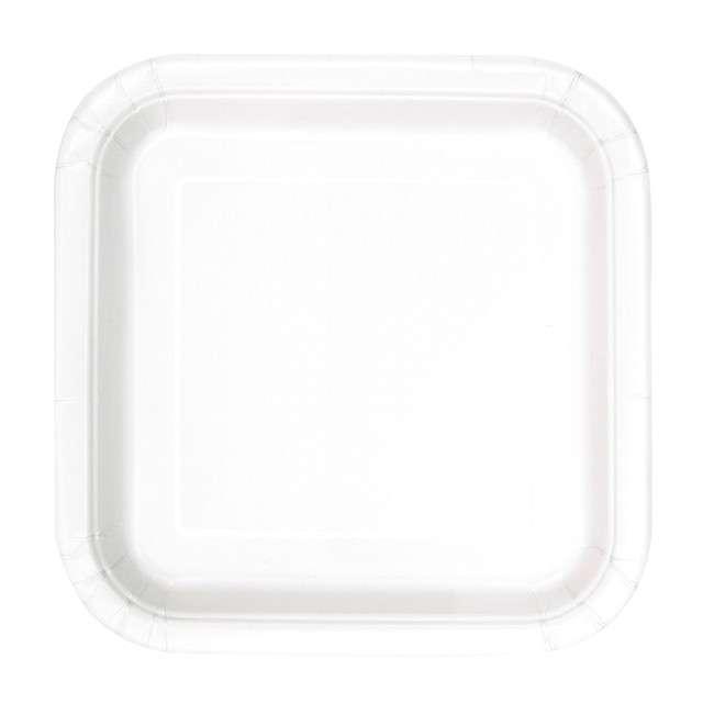 Talerzyki papierowe Classic - Kwadratowe biały UNIQUE 23 cm 14 szt