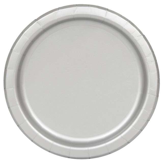 Talerzyki papierowe Classic srebrny UNIQUE 18 cm 20 szt