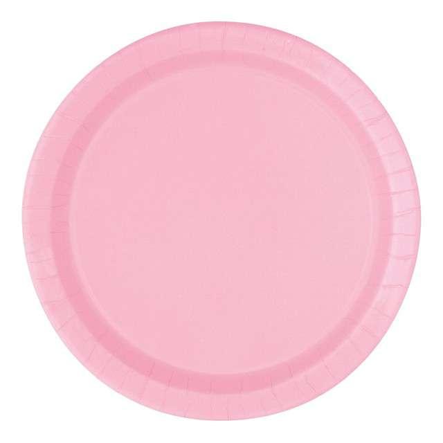 """Talerzyki papierowe """"Classic"""", różowy jasny, UNIQUE, 18 cm, 20 szt"""