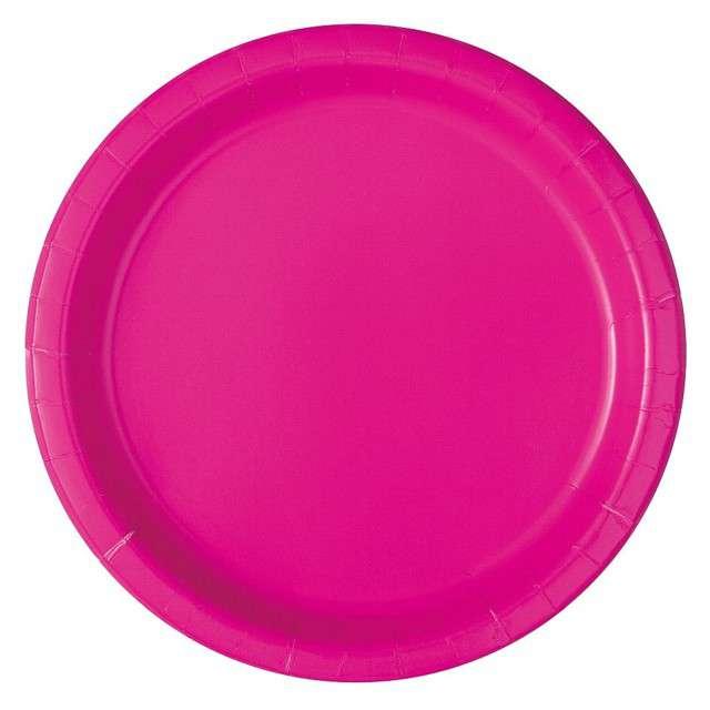 """Talerzyki papierowe """"Classic"""", różowy neon, UNIQUE, 18 cm, 20 szt"""