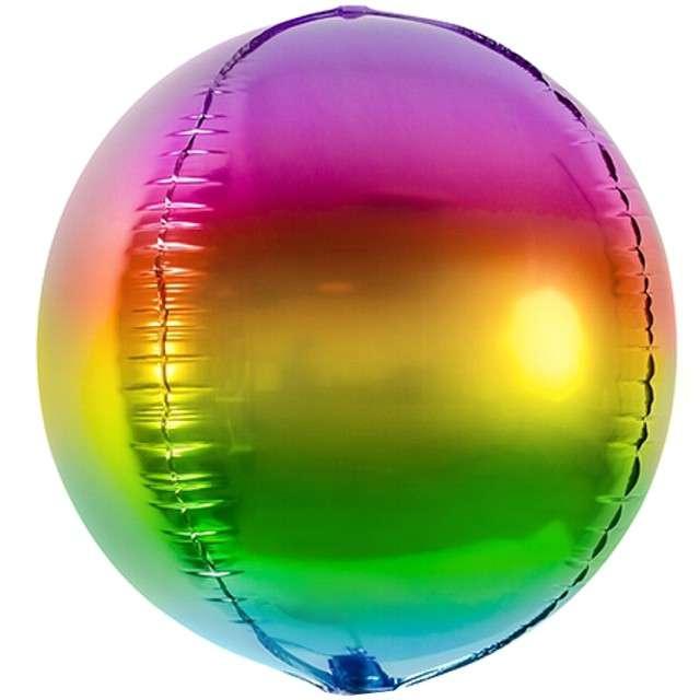 Balon foliowy Kula Ombre tęczowy PartyDeco 16 ORB