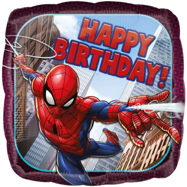 "Balon foliowy ""SpiderMan - Happy Birthday"", AMSCAN, 18"" SQR"