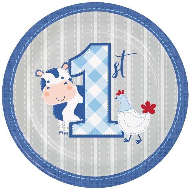 """Talerzyki papierowe """"Farmhouse Pierwsze Urodziny"""", CreativeConverting, 18 cm, 8 szt"""