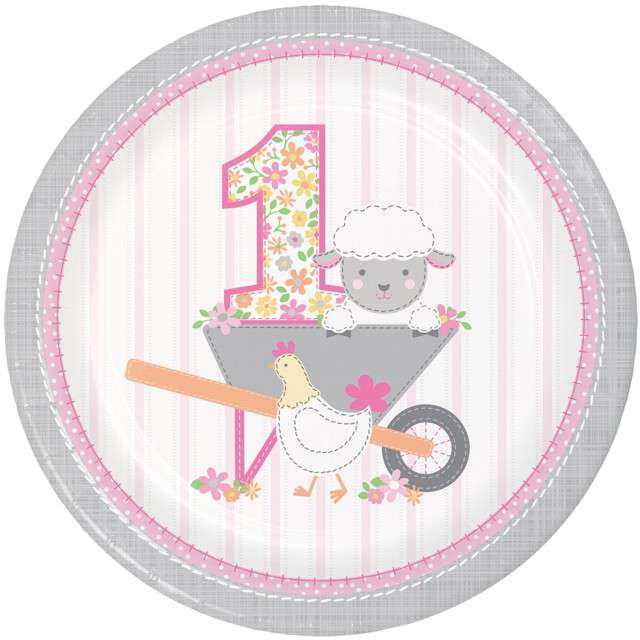 """Talerzyki papierowe """"Farmhouse Pierwsze urodziny"""", CreativeConveting, 23 cm, 8 szt"""