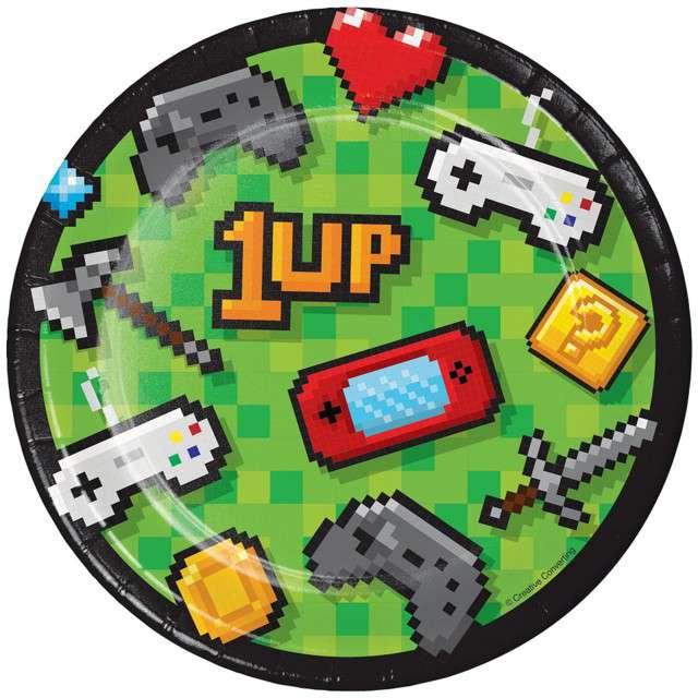 """Talerzyki papierowe """"Gaming Party"""", CreativeConverting, 18 cm, 8 szt"""