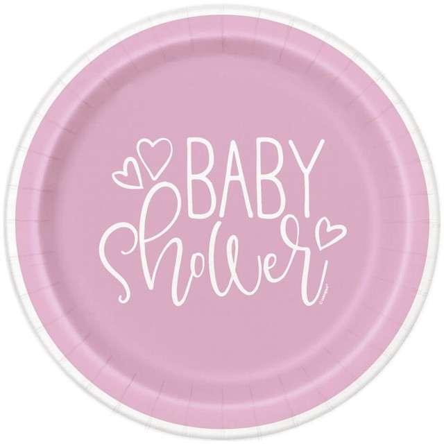 """Talerzyki papierowe """"Baby Shower"""" UNIQUE, 18 cm, 8 szt"""