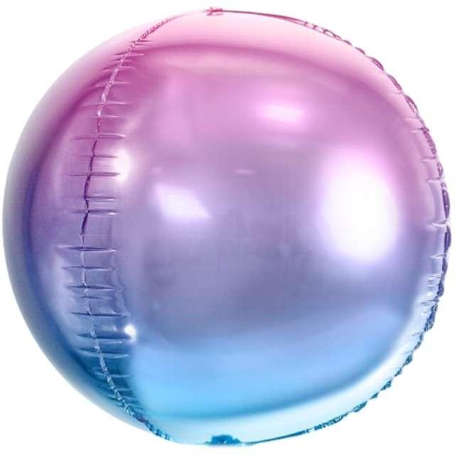 """Balon foliowy """"Kula Ombre Metalic"""", fioletowo-niebieski, PartyDeco, 14"""" ORB"""
