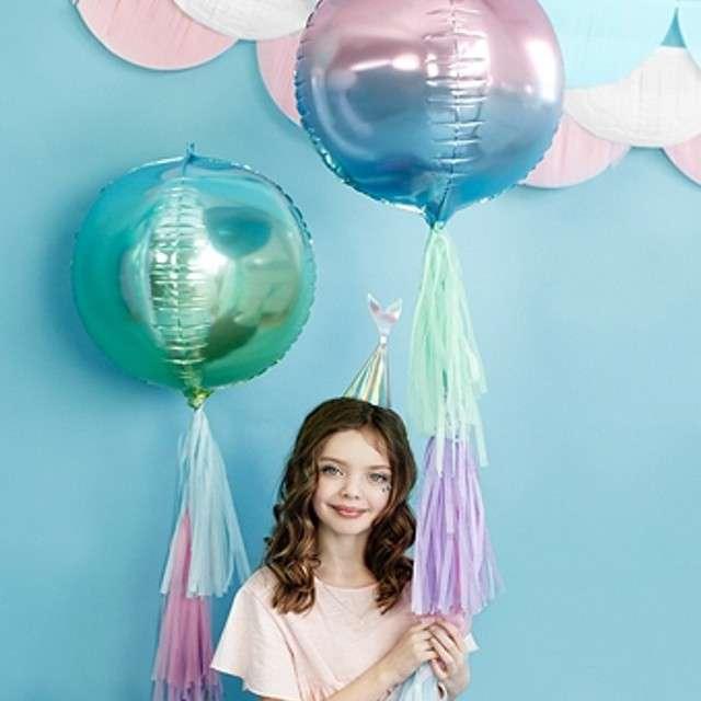 Balon foliowy Kula Ombre Metalic niebiesko-zielony PartyDeco 14 ORB